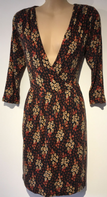 NEW LOOK BROWN ORANGE RED FLORAL WRAP JERSEY DRESS SIZE 12